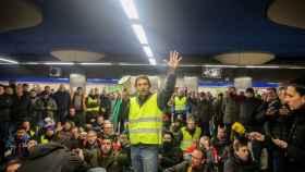 Protestas de los taxistas en el Metro de Ifema.