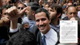 Guaidó, rodeado de seguidores en la plaza de Chacao en Caracas.