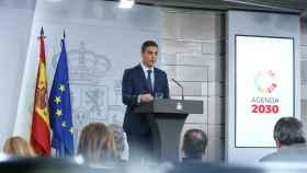 Pedro Sánchez, este sábado en el Palacio de la Moncloa.