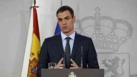 Pedro Sánchez en su comparecencia ante los medios este sábado.