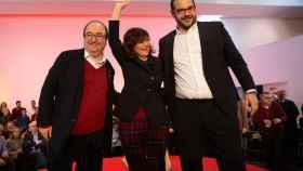 Miquel Iceta, Carmen Calvo y David Bote, candidato del PSC a la alcaldía de Mataró.