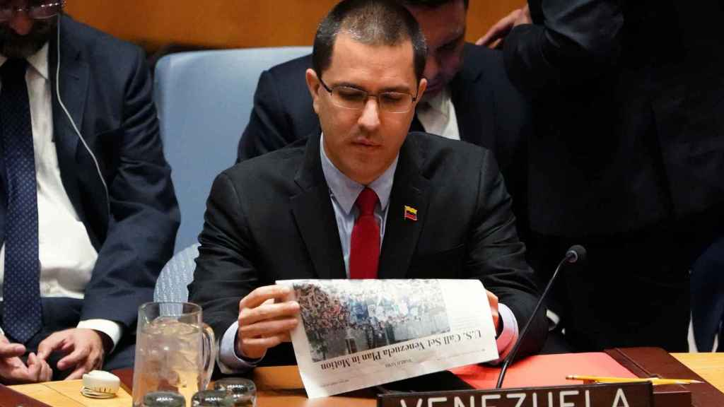 Jorge Arreaza, ministro de Exteriores de Nicolás Maduro, en el Consejo de Seguridad de la ONU.