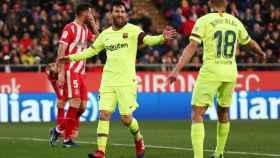 Leo Messi y Jordi Alba celebran un gol ante el Girona