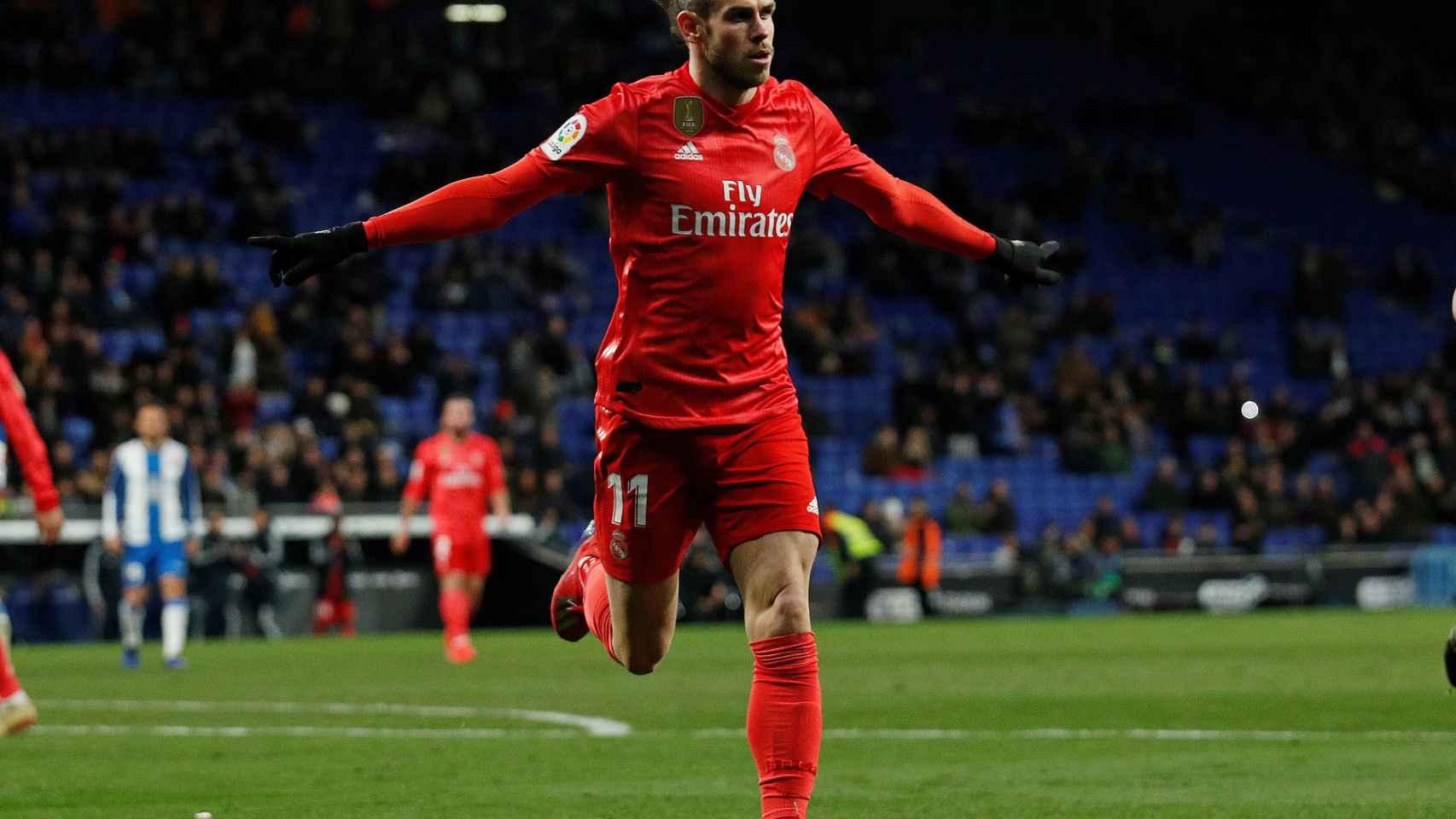Gareth Bale celebra su gol al Espanyol