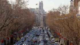 Vista de los taxis bloqueando la Castellana en Madrid