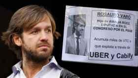 Rosauro Varo y junto al cartel en montaje JALEOS.