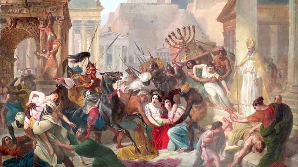 Escena de un saqueo de Roma por los visigodos pintada por el ruso Karl Bryullov.