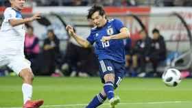 Nakajima con la seleccion japonesa. Foto: portimonense.pt