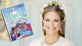 Magdalena de Suecia en un montaje de JALEOS junto a su libro.