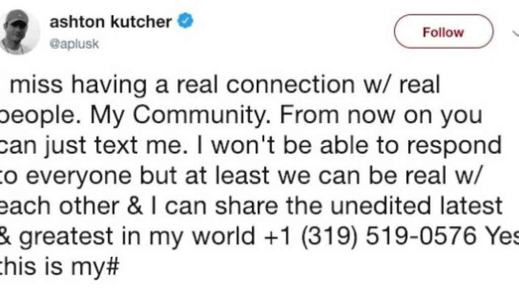 Publicación de Ashton Kutcher en Twitter