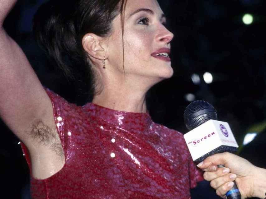 Julia Roberts, sin depilar en el estreno mundial de Nothing Hill, en 1999.