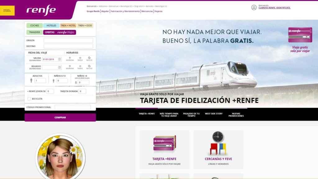 Imagen de la actual web de Renfe.