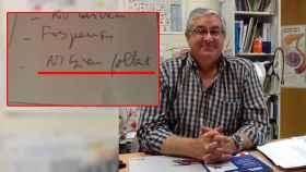 En la imagen,  el doctor Ramón y una foto en la que se lee no bien follada, que fue  el diagnóstico que le dio a Patricia.