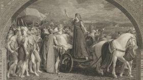 Boudica, la reina británica dibujada por Thomas Stothard.