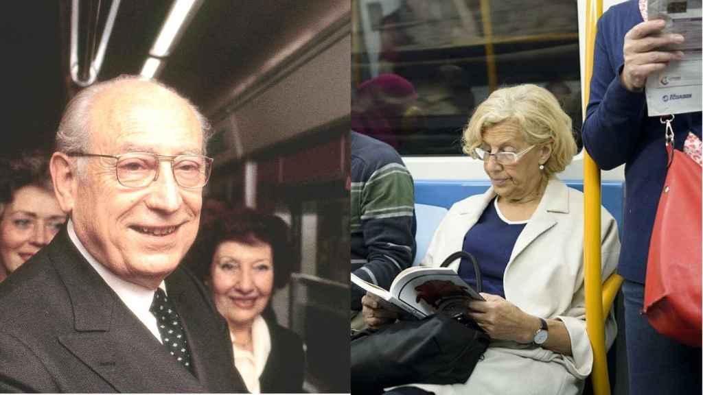 Enrique Tierno Galván y Manuela Carmena, ambos dejándose fotografiar en un vagón de Metro.
