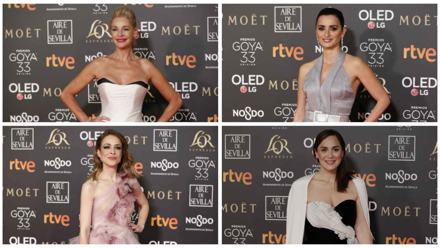 Algunos de los rostros de los Premios Goya 2019 en un montaje JALEOS