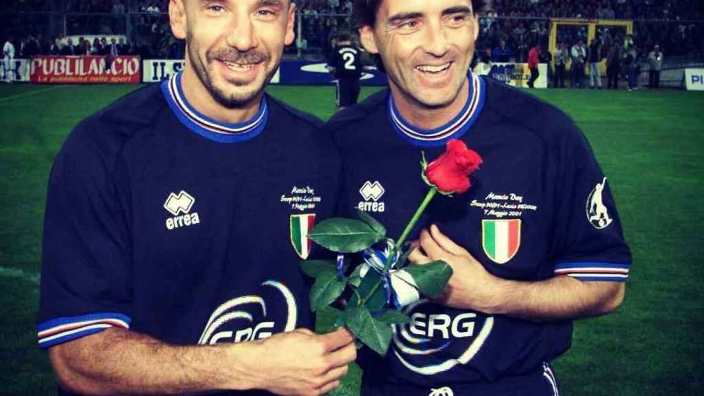 Luca Vialli y Roberto Mancini. Foto: Instagram (@lucavialli)