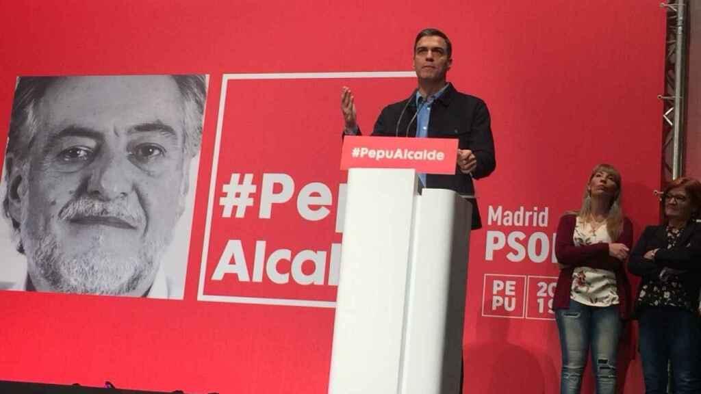 Pedro Sánchez en el acto de apoyo a Pepu Hernández como precandidato del PSOE a la Alcaldía de Madrid.