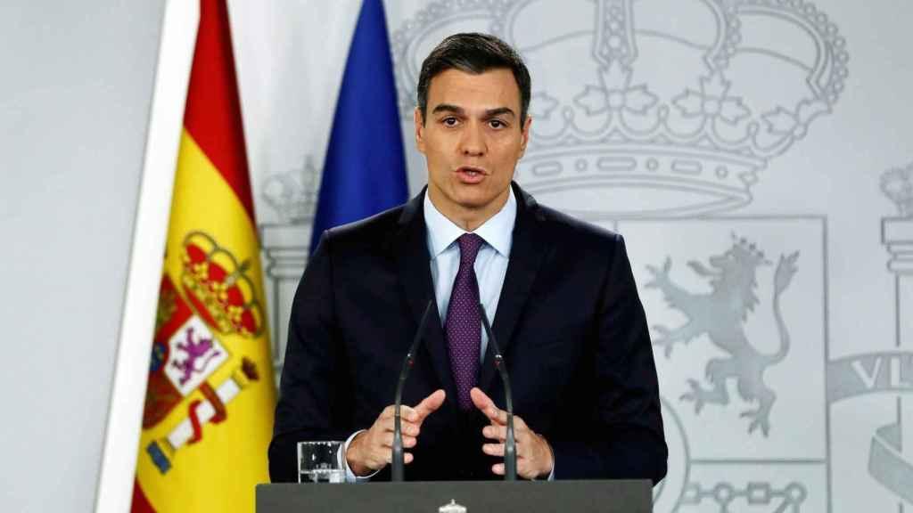 Pedro Sánchez, este lunes en Moncloa al anunciar que reconoce a Guaidó como presidente encargado de Venezuela.