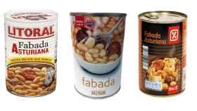 Fabadas de lata de consumo habitual entre los españoles.