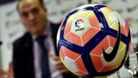 Javier Tebas en la presentación del balón de La Liga