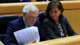 Josep Borrell y Carmen Calvo, este martes en el Senado.
