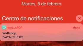 Notificación que han recibido los usuarios de Wallapop