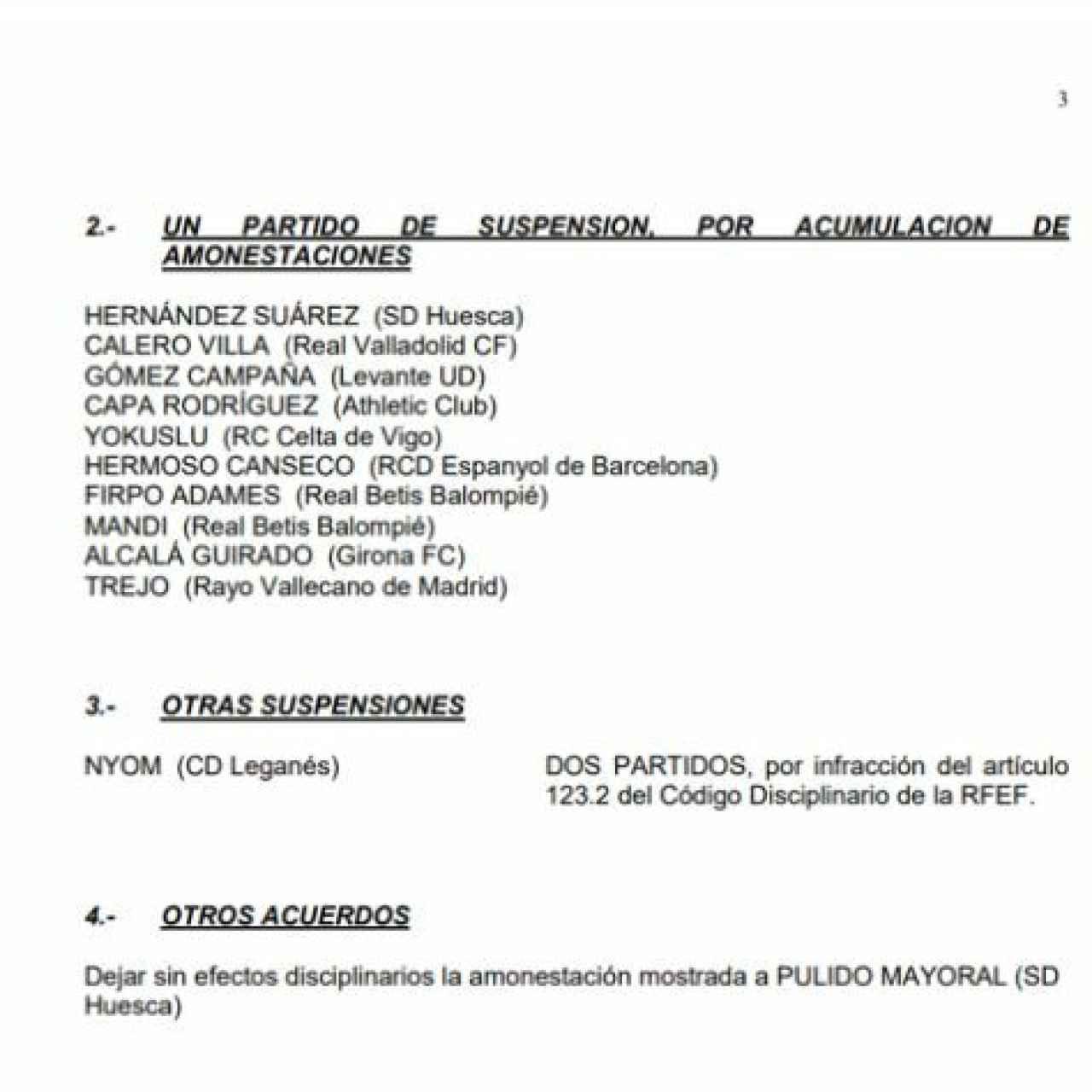 Comunicado oficial de la Real Federación Española de Fútbol. Foto: RFEF