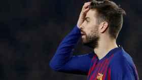 Gerard Piqué se lamenta de una ocasión fallada por el FC Barcelona