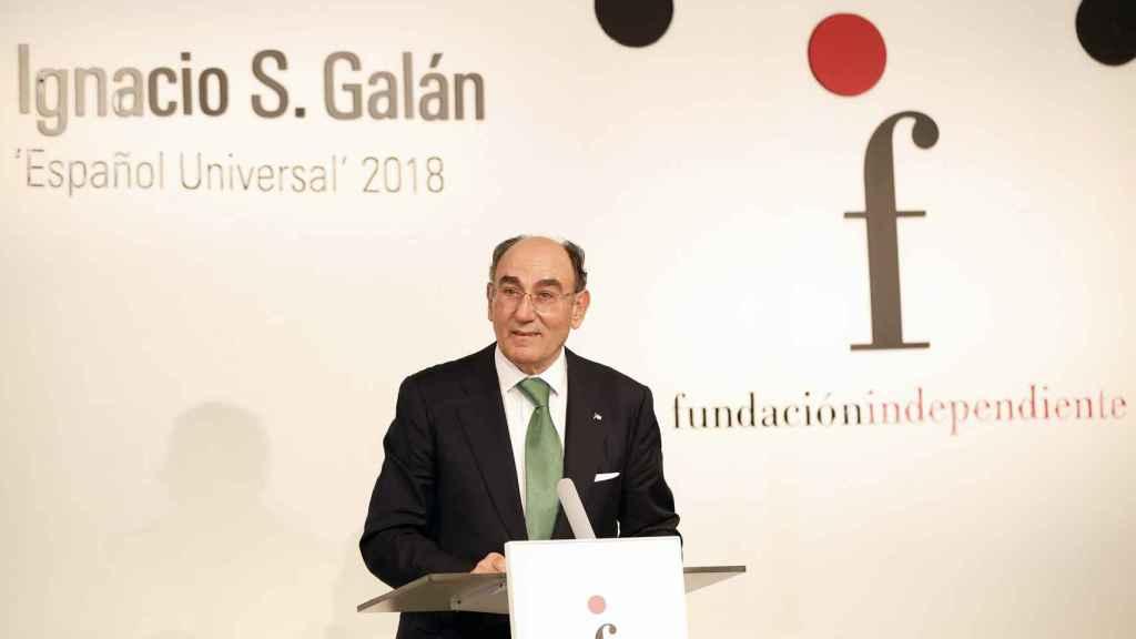 Ignacio Sánchez Galán, durante su intervención tras recoger el premio a Español Universal 2018.