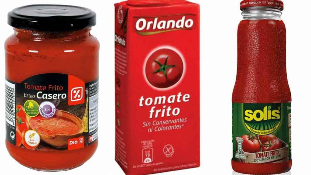 Tres marcas de tomate que podemos encontrar en el supermercado.