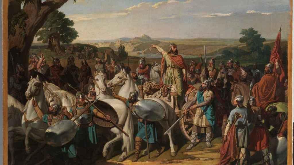 El rey don Rodrigo arengando a los jefes de su ejército antes de dar la batalla del Guadalete.