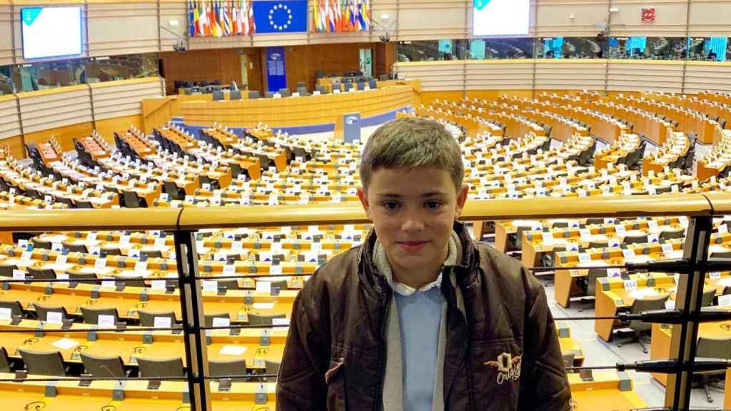 Sergio durante su visita a la sede del Parlamento Europeo.