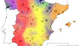 Mapa de los movimientos migratorios en España.