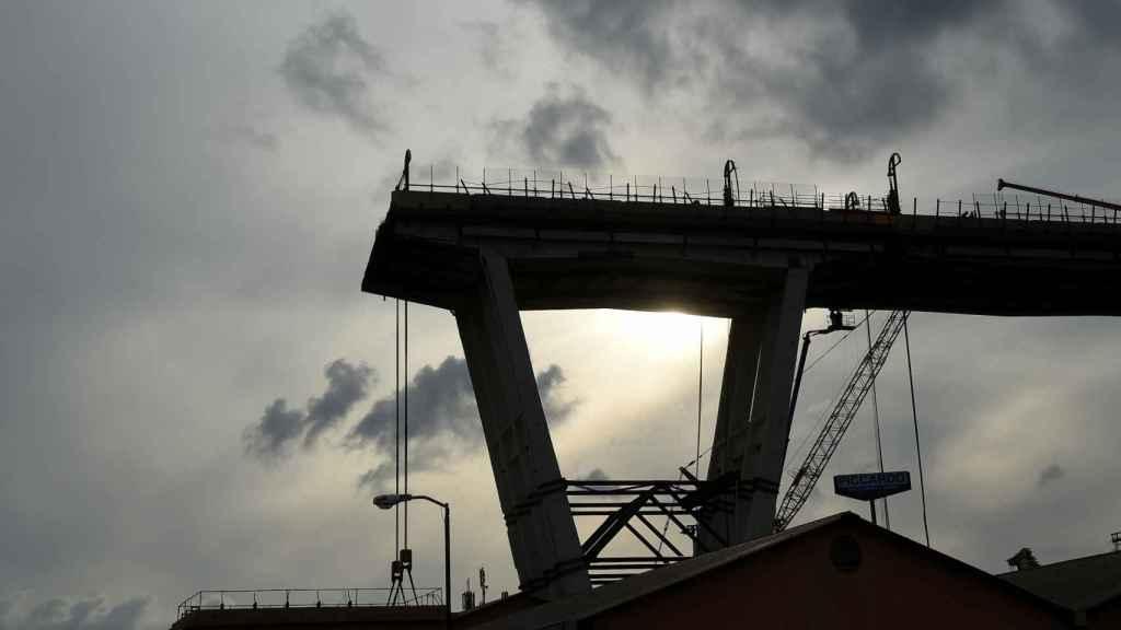 El puente Morandi, en Génova, tras el derrumbe.