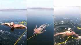 Un nadador se juega la vida buceando bajo el hielo sin oxígeno