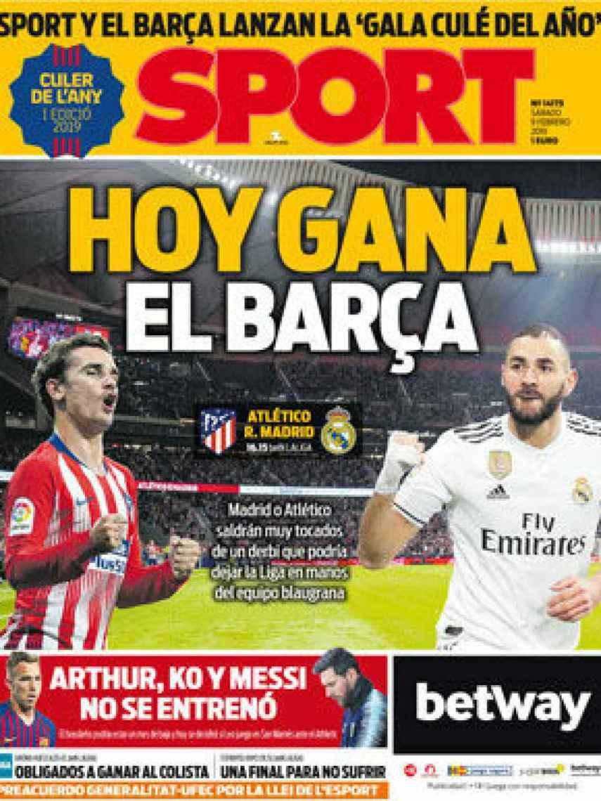 La portada del diario Sport (09/02/2019)