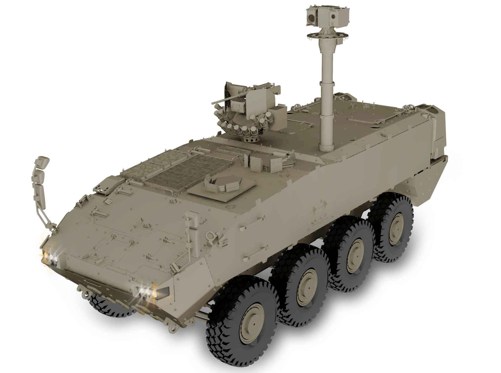 El Vehículo de Observador Avanzado de Artillería, uno de los nuevos dragones, vehículos 8x8.