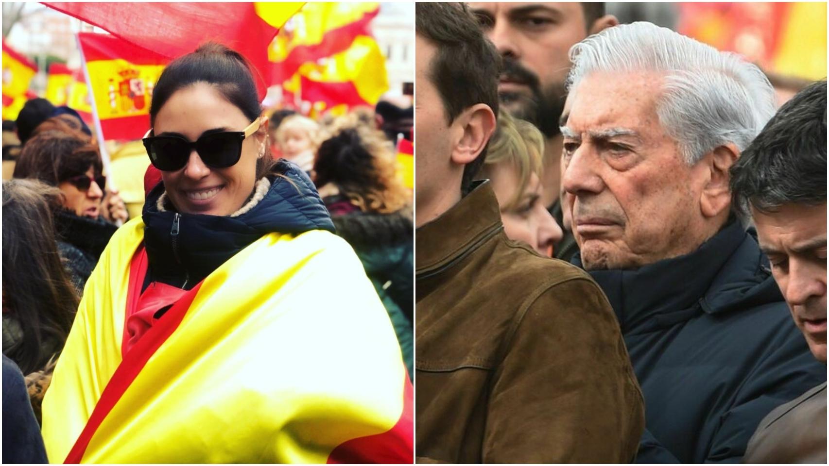 Isabel Rábago y Mario Vargas Llosa en la Plaza de Colón de Madrid.