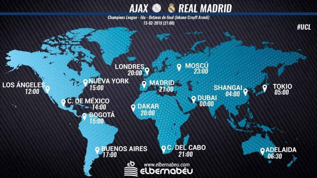 Horario Ajax - Real Madrid