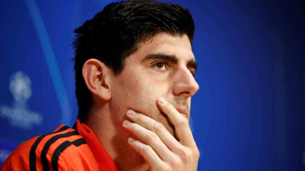 Courtois en la rueda de prensa previa al partido ante el Ajax