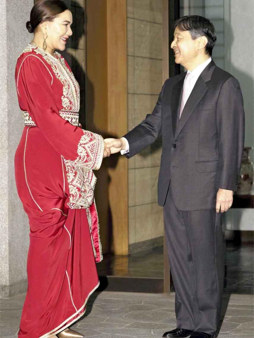La princesa Lalla Hasna junto al príncipe japonés Naruhito, en 2018.