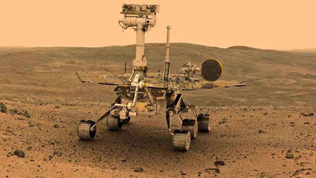 Una imagen del rover 'Opportunity' sobre la superficie marciana.