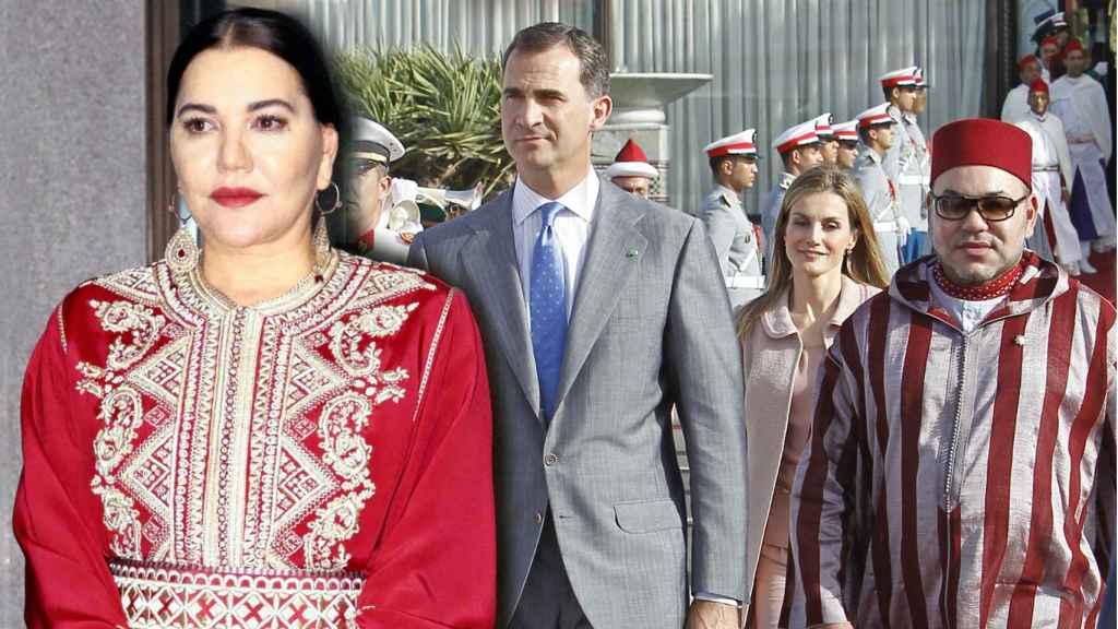 Lalla Hasna y los reyes Felipe y Letizia junto al rey Mohamed VI, en un montaje de Jaleos.