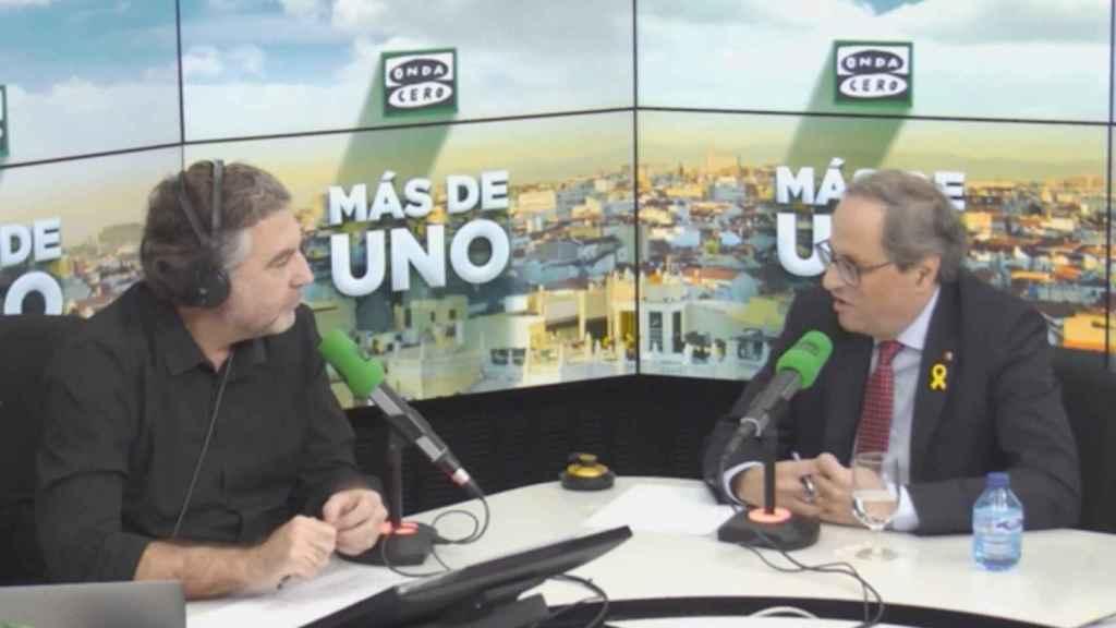 Carlos Alsina entrevistando a Quim Torra.