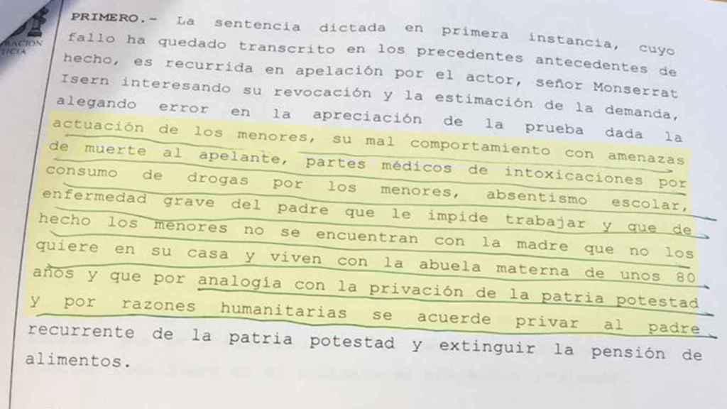 En la imagen, captura de la sentencia de la Audiencia Provincial de Palma.