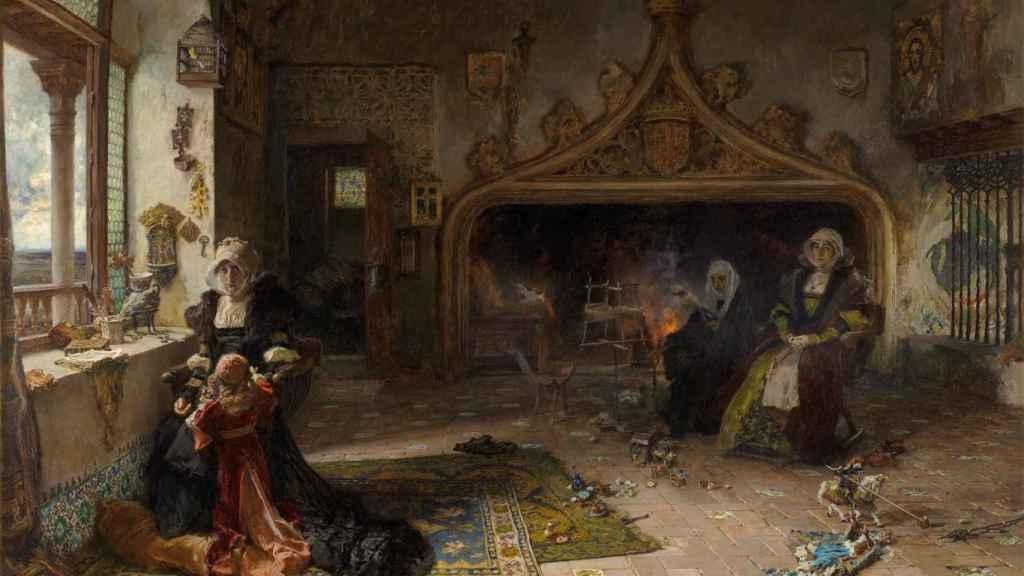 'La reina doña Juana la Loca, recluida en Tordesillas con su hija, la infanta doña Catalina', por Francisco Pradilla.
