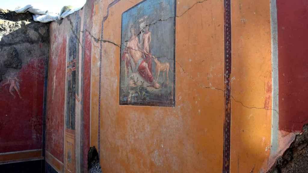 Vista de un fresco que representa el mito de la belleza de Narciso descubierto en Pompeya.