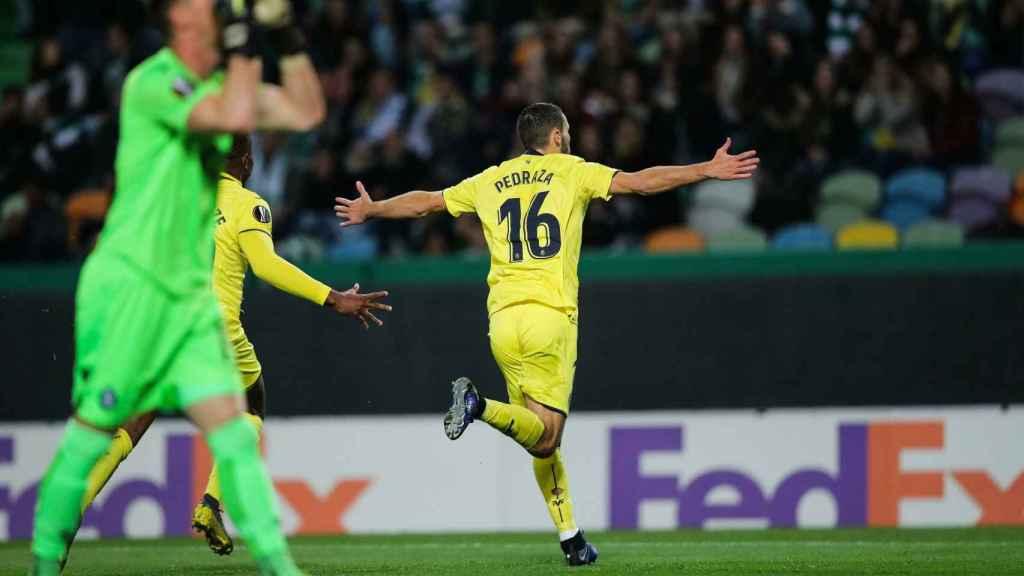 Alfonso Pedraza celebra su gol en el partido de Europa League entre el Sporting de Portugal - Villarreal