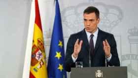 Pedro Sánchez, durante su comparecencia anunciando la fecha de las elecciones.